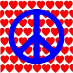 Patriotic RWB Peace & Love Symbol