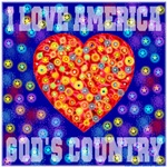 I Love America God's Country StarBurst Heart