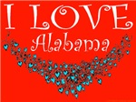 I Love Alabama Red Hot & Blue Hearts