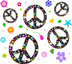 Peace symbols and flowers pattern