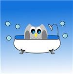 Owl In Tub (Blue)