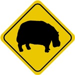 Hippo Crossing Sign T-Shirt