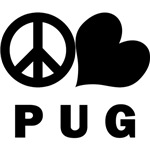 Pug T-Shirt - Peace Love