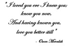 Loved you...