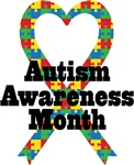 Autism Awareness Month Heart Ribbon