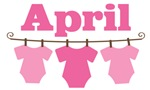 Cute April Pink Baby Clothes Announcemen