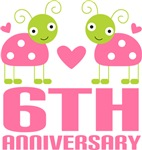 6th Anniversary Gift Pink Ladybug T-shirt