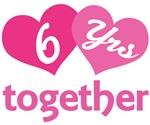 6th  Anniversary Hearts Gift T-shirts
