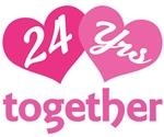 24th Anniversary Hearts Gift T-shirts