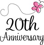20th Anniversary Pink Butterfly Keepsake Gifts