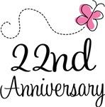 22nd Anniversary Pink Butterfly Keepsake Gifts