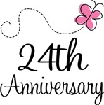 24th Anniversary Pink Butterfly Keepsake Gifts