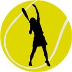 Fun Women's Tennis Player Silhouette T-shirts