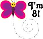 8th Birthday Girls Butterfly T-shirts