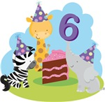 6th Birthday Cute Animals T-shirts and Gifts