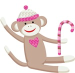Sock Monkey with Candy Cane Kids T-shirts