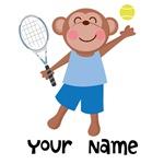 Personalized Tennis Monkey Kids Tee Shirts