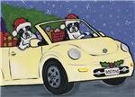 2 Boston Terriers in Christmas Car