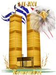Gold Twin Towers, Eagle n Flag
