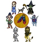 Toto, the Wicked Witch of the West, a flying Monkey, the Cowardly Lion, the Tinman, the Scarecrow and Dorothy Gale all stand around a circle containing the Ruby Red Slippers on the Yellow Brick Road.