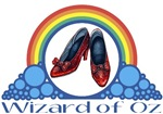 Ruby Red Slippers and Over the Rainbow from the Wonderful Wizard of Oz with the quote: Wizard of Oz