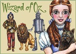 Dorothy Gale and Toto from the Wizard of Oz stand in the forground while Scarecrow, Cowardly Lion and the Tin Woodsman stand behind ready to support Dorothy.  Wonderful Wizard of Oz t-shirts and gifts