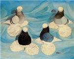 Four Baldhead Muffed Tumbler Pigeons