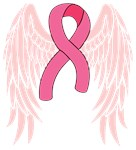 Breast Cancer Ribbon With Angel Wings
