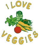 I Love Veggies T-shirt, Button, Magnet