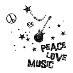 Peace Love Music T-shirt ~ Peace love music t-shirts and gifts. Modern distressed design features a guitar, peace symbol, a heart and lots of stars. Great gift for a musician, especially a guitar player.