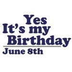 June 8th Birthday T-Shirts & Gifts