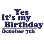 October 7th Birthday T-Shirts & Gifts