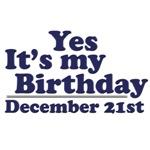 December 21st Birthday T-Shirts & Gifts