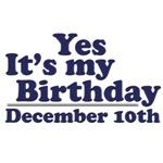 December 10th Birthday T-Shirts & Gifts