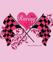 Two Crossed Checkered Flags with heart