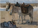 Vintage Painting of Two Pack Mules