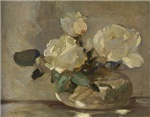 Vintage Painting of White Roses