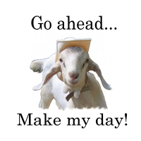 The goat says, Make my day