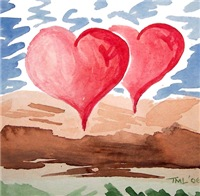 Fantasy hearts watercolor