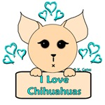 I Love Chihuahuas Cartoon (Blue)
