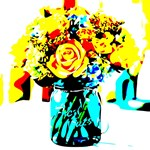 Red Yellow Roses Blue Vase