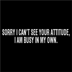 I Can't See Your Attitude, I'm Busy In My Own.
