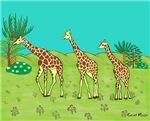 Giraffe's facing Left