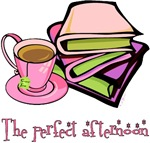 Nothing like a cup of tea and a good book to spend the afternoon.  Cute teacup and a stack of books on a great variety of apparel and gifts.  Book Geek T-shirts and Gifts