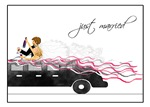 Just Married Newlyweds Bride and Groom in Limo