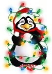 Smiling Penguin Tangled in Glowing Christmas Light