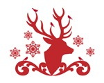 Red Christmas deer head with birds