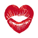 Red heart lips, lipstick kiss