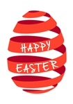 Happy Easter, red ribbon egg