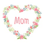 Happy Mothers day, flower heart wreath